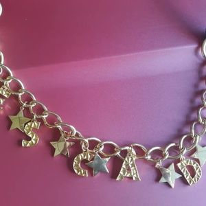 Vintage ESCADA Gold Chain Letters & Stars Belt